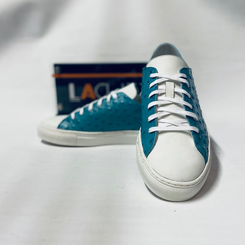 Lacuzzo White Teal Ostrich Trainers
