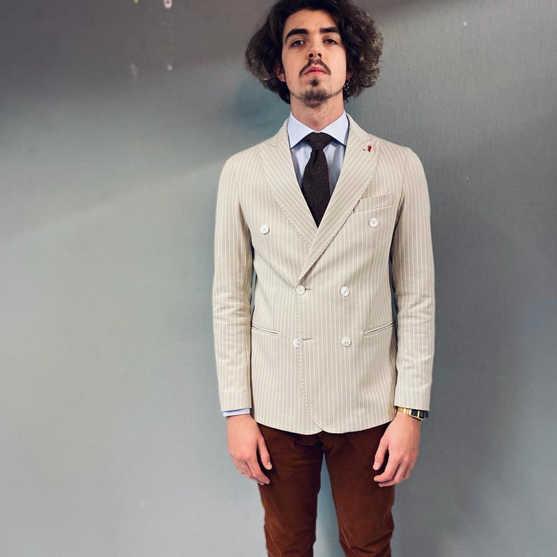 Mulish Vespa Double Breasted Pinstripe Beige Jacket