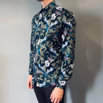 Venti Modern Fit Hummingbird Green Print Shirt