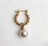 Twisted Hoop White Pearl