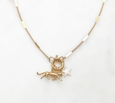 Signet Necklace Leopard White Star