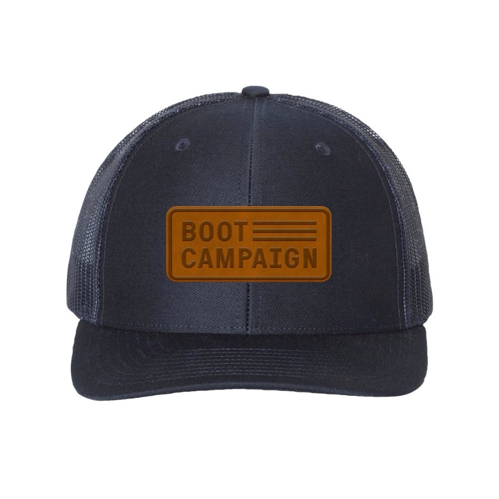Richardson 112 Navy Trucker Hat with Leather Patch
