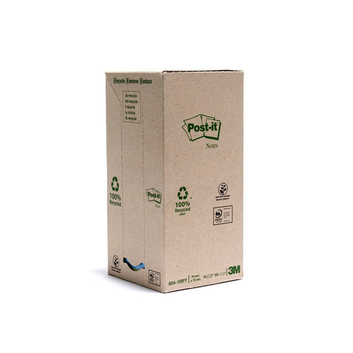 Post-it papier 100% recyclé-16 blocs de 100 feuilles-76x76mm-couleurs assorties-Bluedigo