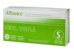 ALLIANCE 3205 Vinyl Medical Gloves, Small Size, Powder-Free, Box of 100