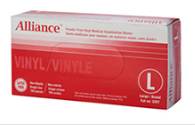 ALLIANCE 3207 Vinyl Medical Gloves, Medium Size, Powder-Free, Box of 100