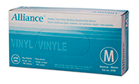 ALLIANCE 3206 Vinyl Medical Gloves, Medium Size, Powder-Free, Box of 100
