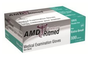 AMD Ritmed, 9994-C medical examination gloves, vinyl, powder-free, large, box of 100