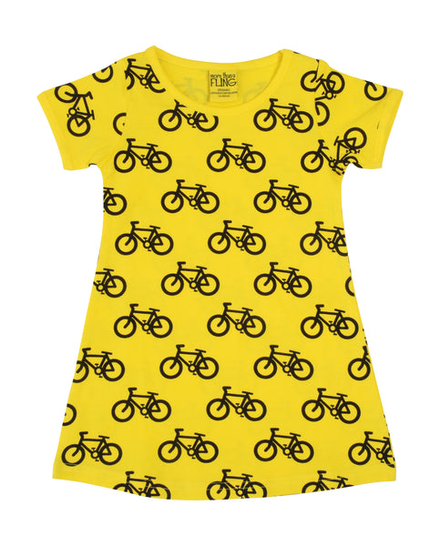 MTAF All Over Printed | Short Sleeve Dress | Bike - Yellow