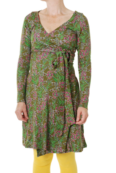 Wrap Dress with Long Sleeve | Willowherb - Olive Branch Green