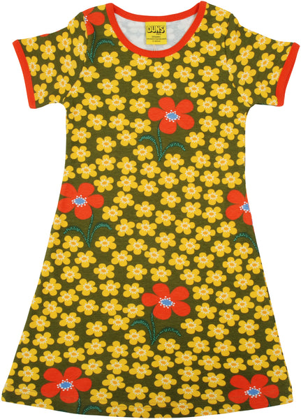 Short Sleeve Dress | Flower - Olive