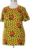 Short Sleeve Top | Flower - Olive