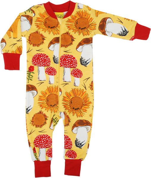 Zip Suit | Sunflowers and Mushrooms - Sunshine Yellow