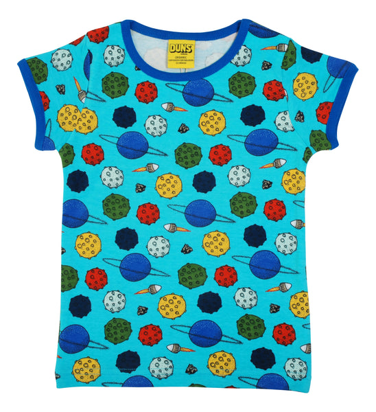 Short Sleeve Top | Small Planets - Blue Atoll