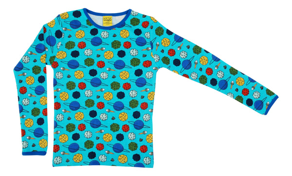 Long Sleeve Top | Small Planets - Blue Atoll