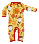 Long Sleeve Suit | Sunflowers and Mushrooms - Yellow