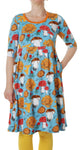 All over printed | Dress with U-Neck | Sunflower & Mushrooms - Sky Blue
