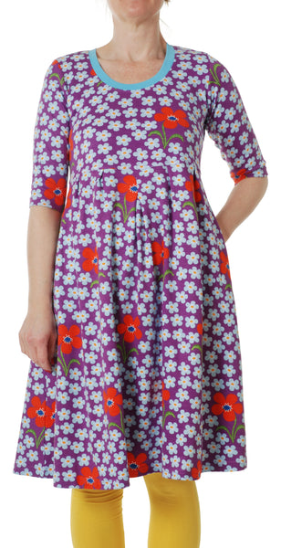 All over printed | Dress with U-Neck | Flower - Amethyst Orchid