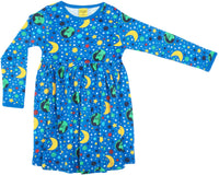 Long Sleeve Dress with Gathered Skirt | Mother Earth - Blue