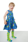 Short leg Dungaree/Playsuit | Jellyfish - Blue/Green