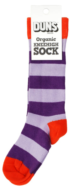 Knee High Sock | Stripe, Light Purple/ Purple, Red Toe