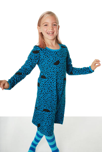 MTAF All Over Printed | Long Sleeve Dress | Raindrops - DarkTurquoise