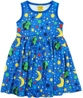 Sleeveless Dress with Gathered Skirt | Mother Earth - Blue