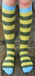 Knee High Sock | Stripe, Light Green/ Swamp Green, Blue toe