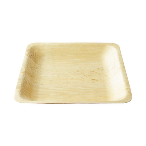 "10"" Square Bamboo Disposable Deep Large Dinner Plate 8/pk"