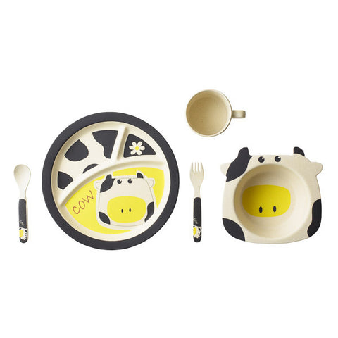 Bamboo Kids 5 Piece Black Cow Dinnerware Set