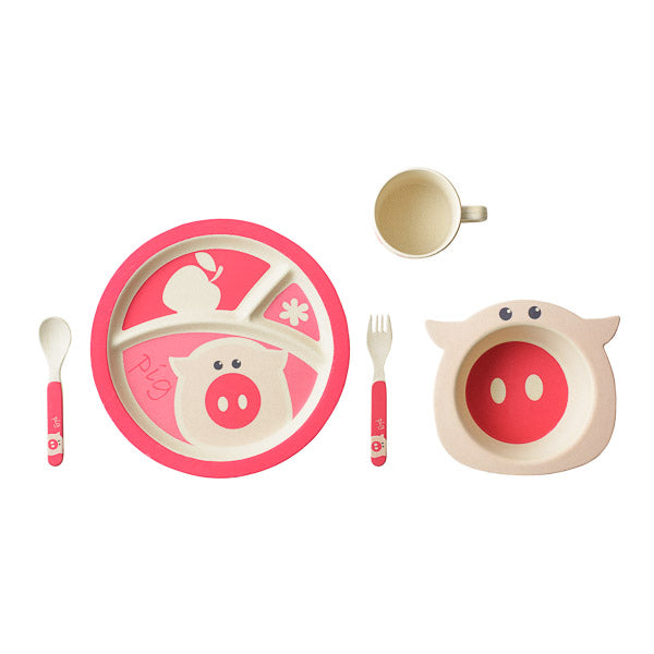Bamboo Kids 5 Piece Pinky the Pig Dinnerware Set