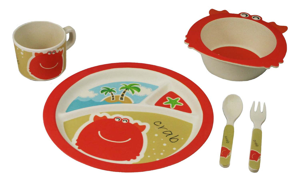 Bamboo Kids Shelby the Crab Kids Dinnerware 5pc Set