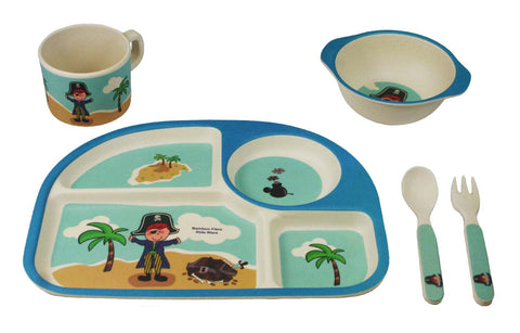 Bamboo Kids 5 Piece Blue Pirate Dinnerware Set