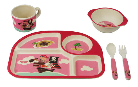 Bamboo Kids 5 Piece Pink Pirate Dinnerware set