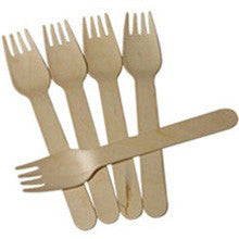 "6"" Disposable Eco-Friendly Birch Wood Fork 100/pk"