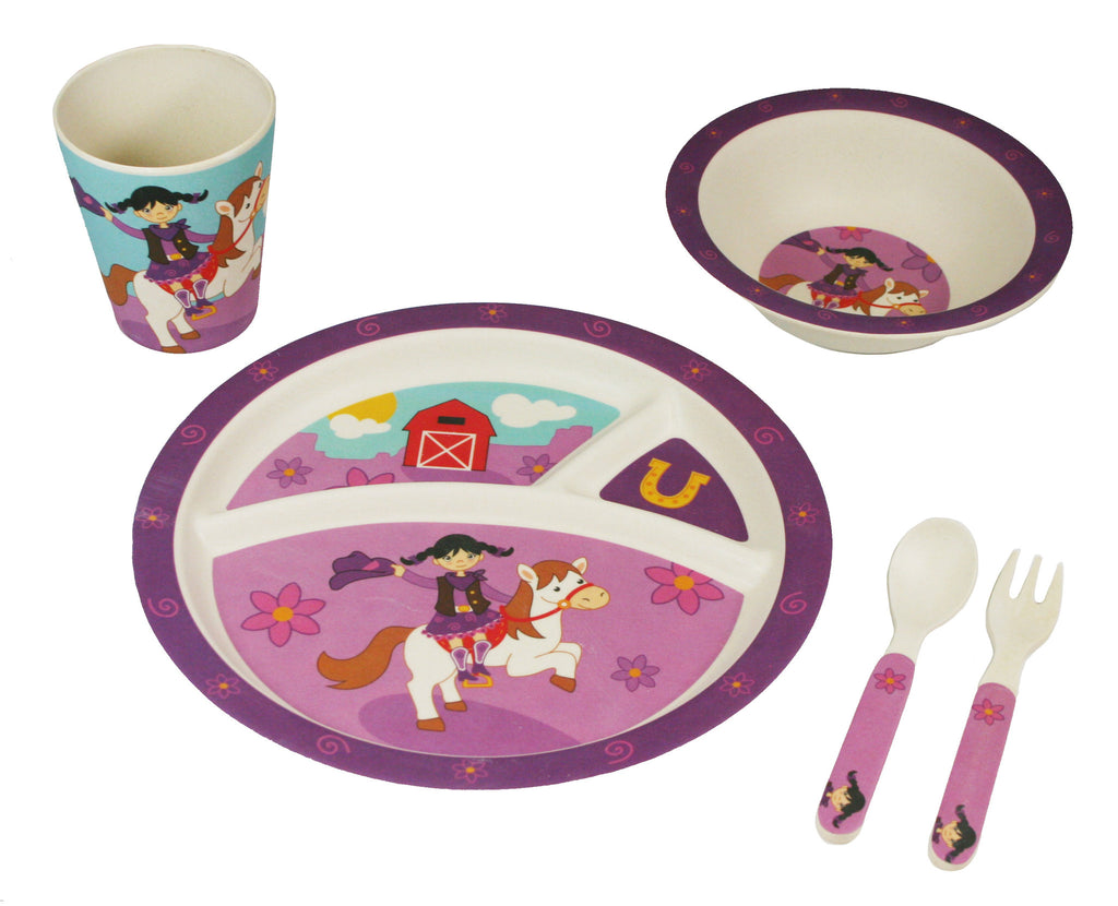 Bamboo Kids Dallas the Cowgirl 5 Piece Dinnerware Set
