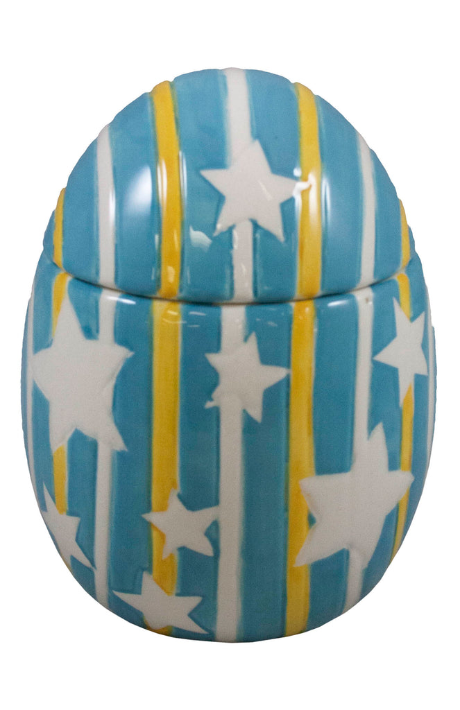 Blue Ceramic Egg with Star Pattern