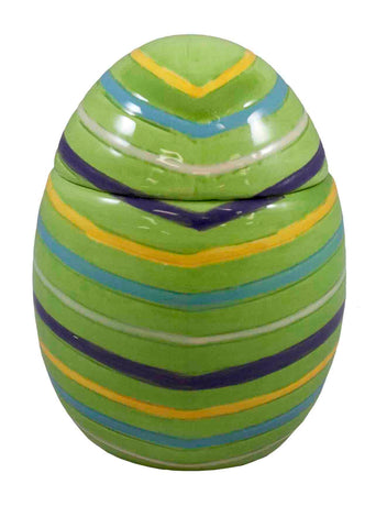 Green Ceramic Egg with Stripes