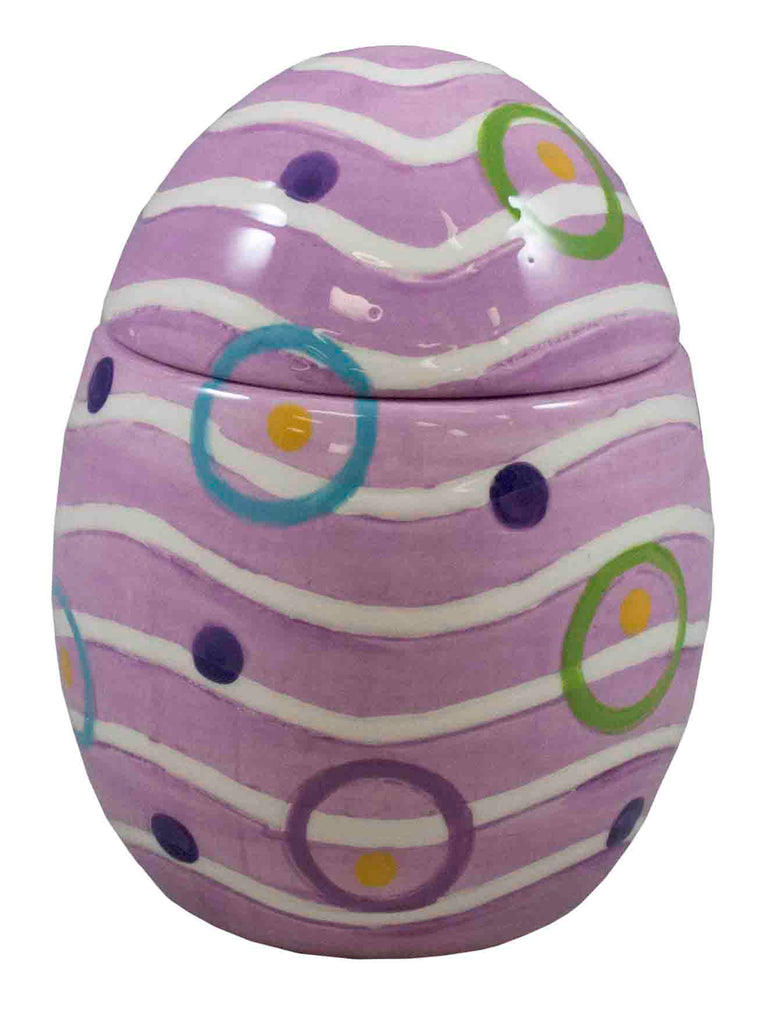 Purple Ceramic Egg with Dots and Stripes