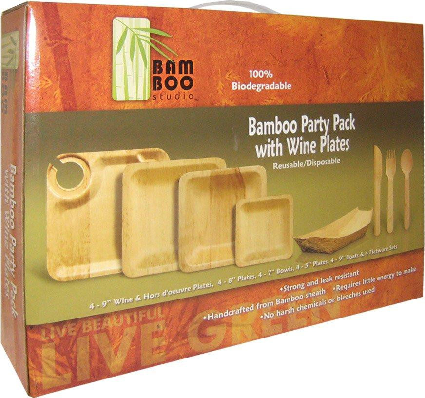Bamboo Wine Plate Party Pack for 4 plates bowls and more! & Bamboo Studio - Bamboo Wine Plate Party Pack for 4 plates bowls and ...