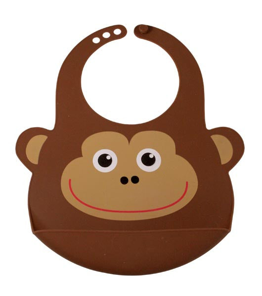 Bamboo Kids Brown Monty the Monkey Silicone Rubber Baby Bib