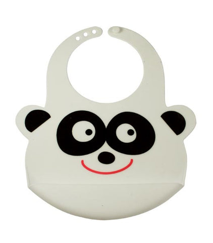 Bamboo Kids White Peyton the Panda Silicone Rubber Baby Bib