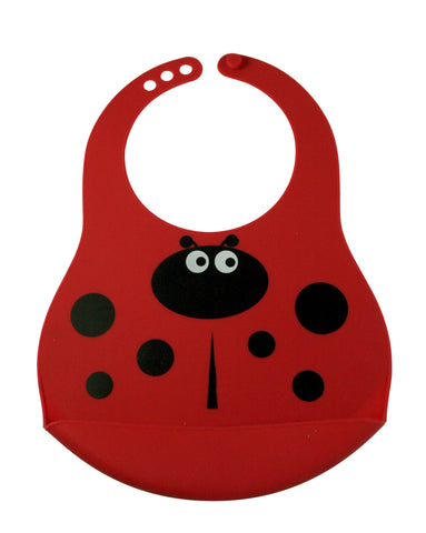 Red Lauren the Ladybug Silicone Rubber Baby Bib