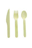 "6"" Combo Birch Disposable Utensil Set Wrapped + Napkin 30/pk"