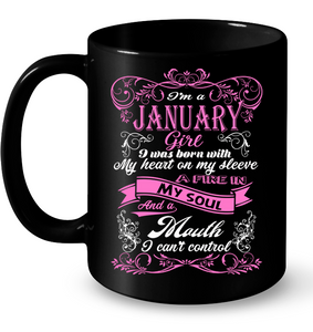 January Girl Born With My Heart On My Sleeve T Shirts