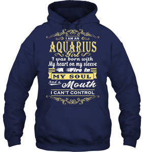 Aquarius Girl I Was Born With My Heart On My Sleeve T Shirts