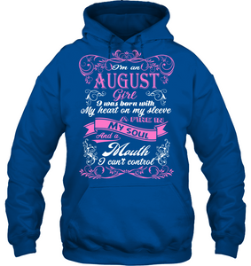 August Girl Born With My Heart On My Sleeve T Shirts