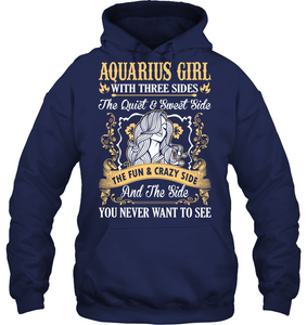 Aquarius Girl With Three Sides The Fun And Crazy Side T Shirts