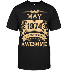 May 1974 45 Years Of Being Awesome Lion 2019 T Shirts