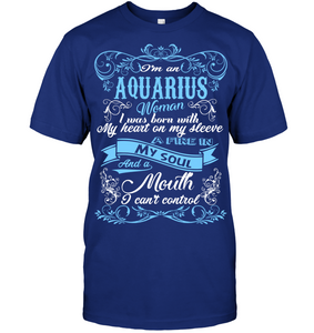 Aquarius Woman I Was Born With My Heart On My Sleeve T Shirts