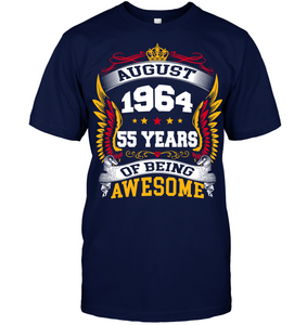 August 1964 55 Years Of Being Awesome New Design for 2019 T Shirts